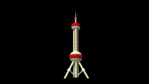China - Shanghai - Oriental Pearl TV Tower Animation