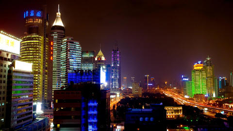 Shanghai City Night View, Wide Shot Stock Video Footage