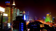 Shanghai City Night View, Wide Shot stock footage