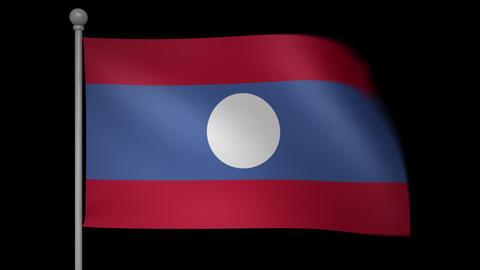 Laos Flag Stock Video Footage
