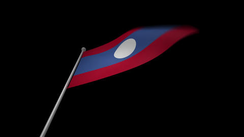 Laos Flag Stock Video Footage
