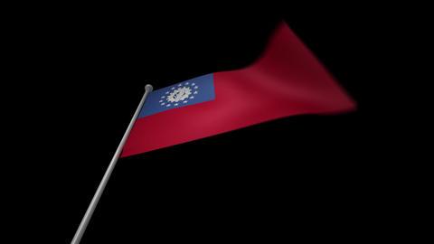 Myanmar Flag Stock Video Footage