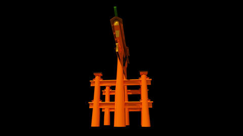 Japan - Miyajima - Itsukushima Shrine Torii Stock Video Footage