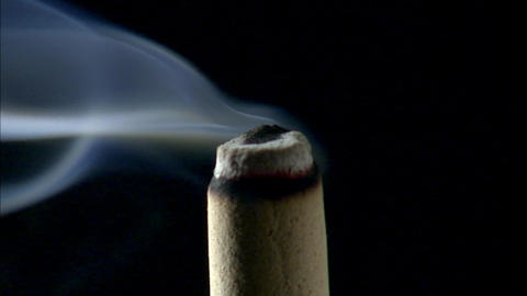 Incense stick smoke Extreme Close-up Stock Video Footage