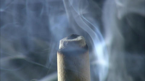 Incense stick smoke Extreme Close-up Footage