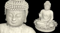 Full Shot Buddha On Lotus Wheel stock footage