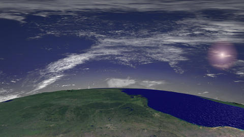 Flight over North America, Sun and Clouds Stock Video Footage