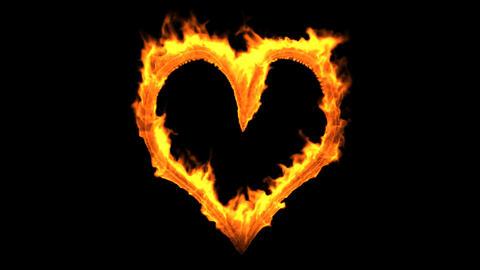 Fire Heart + Alpha Stock Video Footage