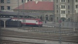 Long passenger train traveling on railway,After Mountain Tai railway station Footage