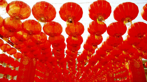 Red lanterns tassel swaying in wind,elements of... Stock Video Footage