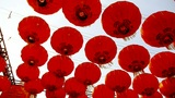 Red Lanterns Tassel Swaying In Wind,elements Of East,china New Year stock footage