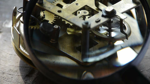 Magnifying glass to enlarge internal structure of... Stock Video Footage