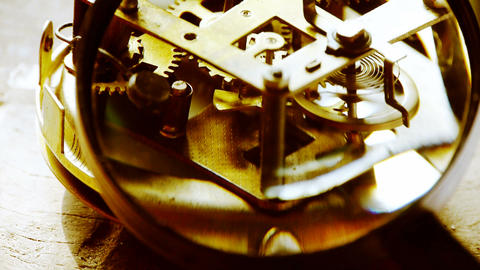 Magnifying glass to enlarge internal structure of Watch,bearings,gears Footage