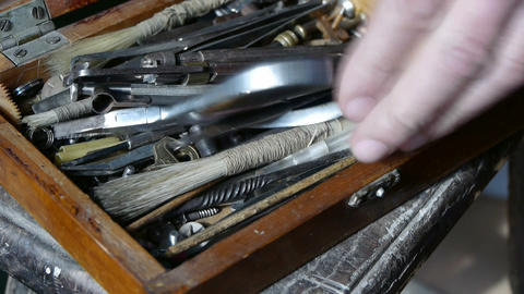 Get tools from old toolbox.artisans,technicians Stock Video Footage