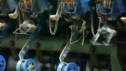 Reeling machine and Textile-machine in operation Stock Video Footage
