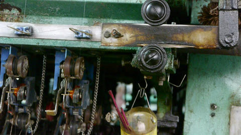Reeling machine and Textile machine in operation.Bearings,screws,bolts Live Action