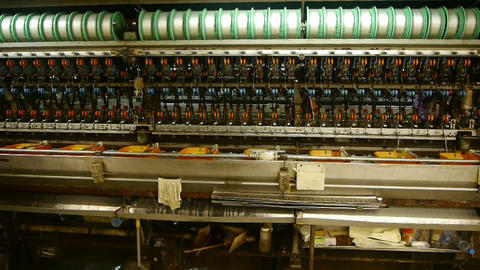 Reeling machine and Textile machine in operation Stock Video Footage