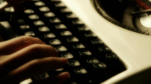 Hands typing on a typewriter Footage