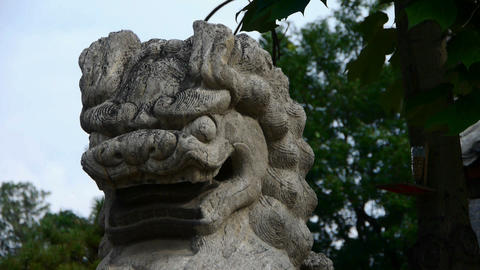 Stone lion,Historical monuments Stock Video Footage