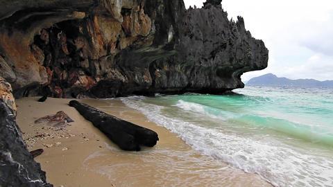 Wild rock beach Stock Video Footage