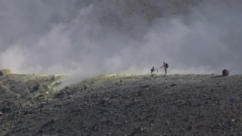 volcano tourist 03 Stock Video Footage