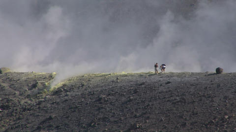 volcano tourist 03 Stock Video Footage