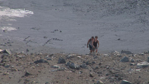 volcano tourist 05 Stock Video Footage
