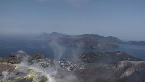 Vulcano crater 01 Stock Video Footage