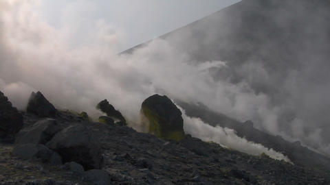 Vulcano fumarole 02 Stock Video Footage