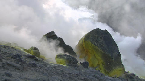Vulcano fumarole 04 Stock Video Footage