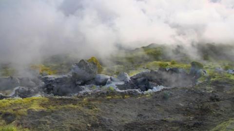 Vulcano fumarole 06 Stock Video Footage