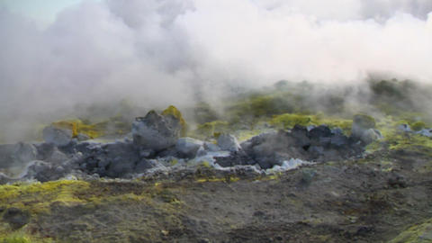 Vulcano fumarole 06 Stock Video Footage