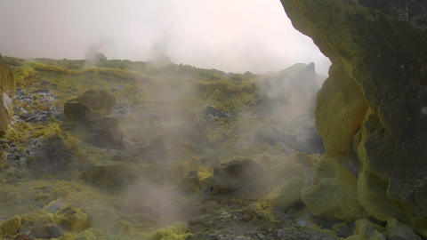 Vulcano fumarole 08 Stock Video Footage