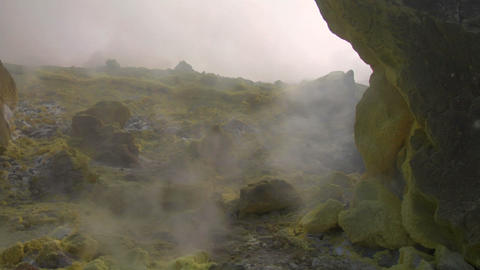 Vulcano fumarole 08 Stock Video Footage