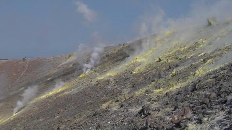 Vulcano fumarole 16 Stock Video Footage