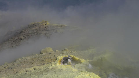 Vulcano fumarole 18 Stock Video Footage