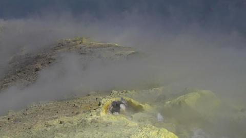 Vulcano fumarole 18 Stock Video Footage