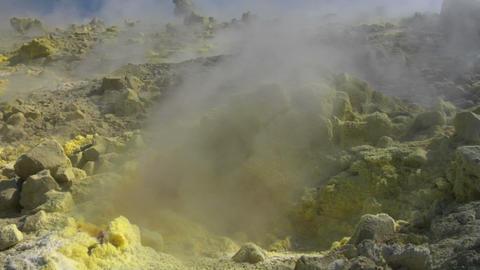 Vulcano fumarole close up 02 Stock Video Footage