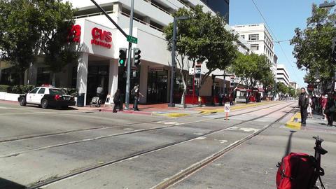 San Diego Downtown 06 tram trolley Stock Video Footage