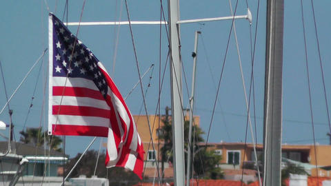 San Diego Mission Bay 18 port USA flag Stock Video Footage