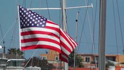 San Diego Mission Bay 18 port USA flag Stock Video Footage