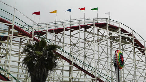 San Diego Mission Bay Amusement Park 03 rollercoaster Stock Video Footage