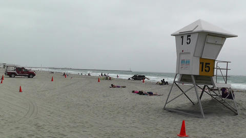 San Diego Mission Bay Beach 04 lifeguard station Stock Video Footage