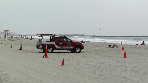 San Diego Mission Bay Beach 06 lifeguard Stock Video Footage