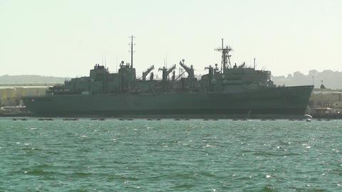 San Diego US Naval Base battleship 01 Stock Video Footage