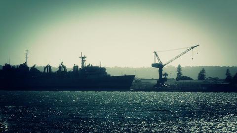 San Diego US Naval Base battleship 03 stylized handheld Stock Video Footage