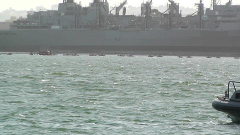 San Diego US Naval Base Security Guard Boat 01 Stock Video Footage