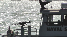 San Diego US Naval Base Security Guard Boat 03 Stock Video Footage