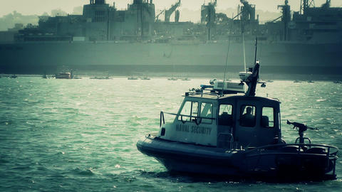 San Diego US Naval Base Security Guard Boat 05 stylized Stock Video Footage