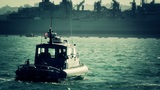 San Diego US Naval Base Security Guard Boat 05 stylized Footage